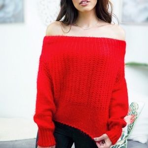 ValMarie Sweaters - Candy Apple fuzzy off shoulder sweater